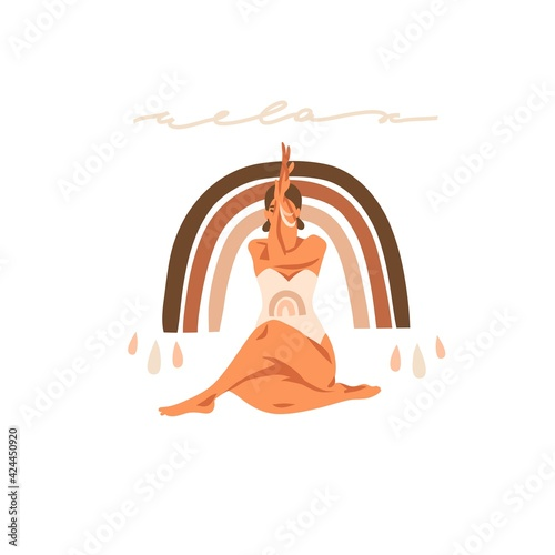 Obraz Hand drawn vector abstract stock graphic bohemian clipart illustration with young happy beauty female character,meditating and yoga practitioner isolated on white background - fototapety do salonu