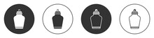 Black Funeral Urn Icon Isolated On White Background. Cremation And Burial Containers, Columbarium Vases, Jars And Pots With Ashes. Circle Button. Vector