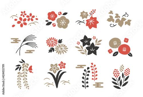 Fotografie, Obraz 和風の植物アイコン3色