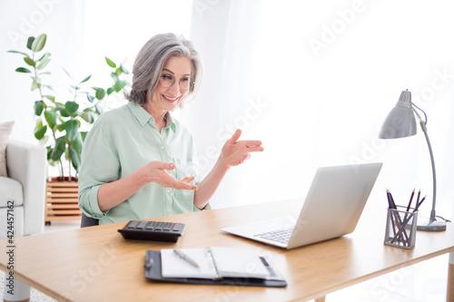 Carta da parati Profile portrait of positive lady sit behind desktop look laptop hands explain s