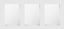 Set Of Three White Realistic Blank Paper Page With Shadow Isolated On Transparent Background. A4 Size Sheet Papers. Mock Up Template For Your Design. Vector Illustration