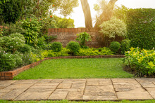 Back - Front Yard English Cottage Garden, Green Grass Lawn, Colorful Flowering Plant