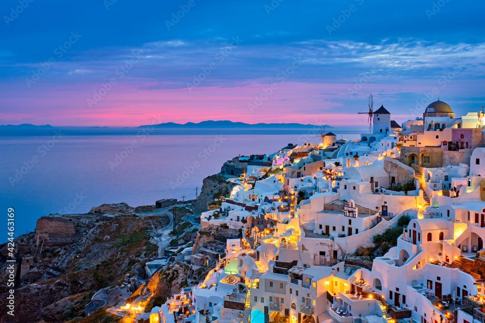 Fototapeta Famous greek tourist destination Oia, Greece