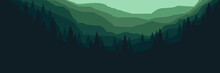 Mountain Forest Flat Design Vector For Web Banner, Blog Banner, Ads Banner Template, Background Design, Poster Background Template, Tourism Promo Design And Wallpaper