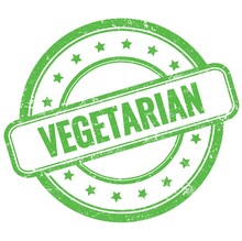 VEGETARIAN Text On Green Grungy Round Rubber Stamp.