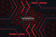 Modern Realistic Futuristic Background Dark And Glow Red With Hexagon Pattern