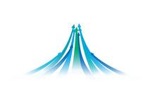 上昇する青と緑の矢印、UPのイメージイラスト、ベクター素材