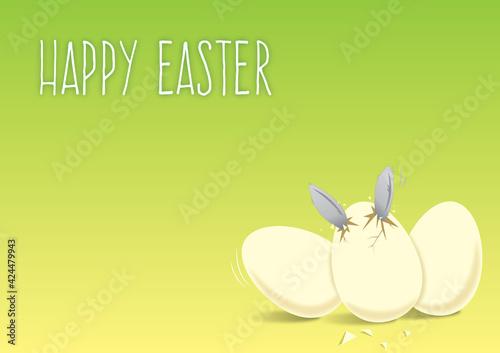 Fototapeta Króliczek wielkanocny wykluwa się z jajka, jajka wielkanocne, wesołych świąt wielkanocnych, pisanki na stół wielkanocny, kartka z życzeniami na Wielkanoc, królik  obraz