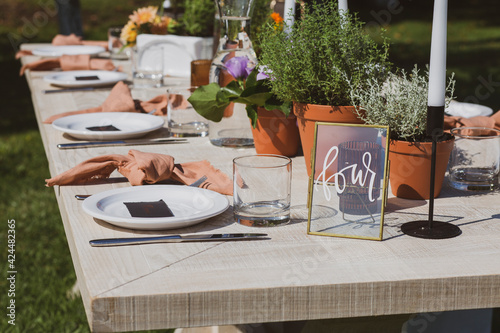 Fototapeta Banquet tables in nature