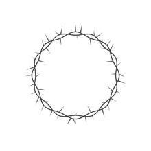 Crown Of Thorns Icon. Crown Of Thorns Round Frame. Vector Illustration Isolated On White