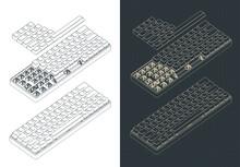 Mechanical Keyboard Isometric Drawings