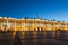 View Of The Winter Palace Building From The Palace Square On A White Night. Saint Petersburg, Russia