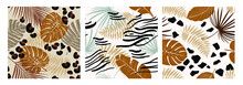 Set Modern Exotic Seamless Pattern With Animal Skin In Brown Colors And Palm Leaves. Vector Art For Design, Fabric, Wallpaper.