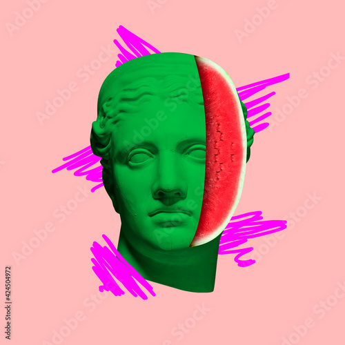 Obraz Contemporary art collage with antique statue head in a surreal style. - fototapety do salonu