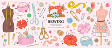 Vector Hand Drawn Sewing Retro Set. Collection Of Highly Detailed Hand Drawn Sewing Tools Isolated On Background