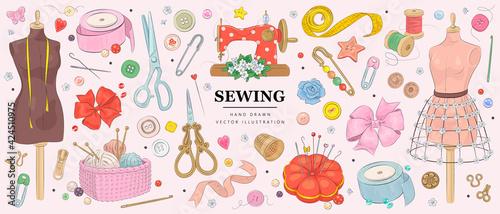 Fotografia, Obraz Vector hand drawn sewing retro set