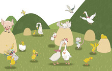 Children's Wallpaper. Animals In The Field. Ducklings Are Playing On The Field.