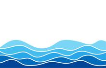 Blue Water Wave Line Deep Sea Pattern Background Banner Vector.
