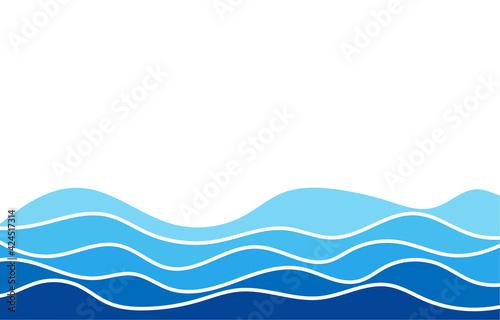 Tela Blue water wave line deep sea pattern background banner vector.