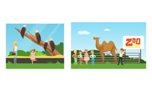 People Visiting The Zoo Set, Kids Watching Different Animals At Excursion Vector Illustration