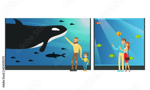 Obraz People in Oceanarium, Visitors Watching Underwater Scenery with Sea Animals at Excursion Vector Illustration - fototapety do salonu