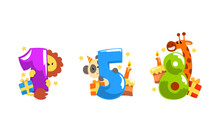 Birthday Anniversary Numbers With Cute Animals Set, Funny Lion, Panda, Giraffe With One, Five, Eight Numbers Cartoon Vector Illustration