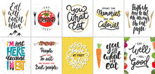 Set Of 10 Motivational And Inspirational Food And Eating Lettering Posters, Decoration, Prints, T-shirt Design.