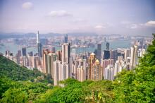 HONG KONG - MAY 2014: Hong Kong Skyline From Victoria Peak On A Cloudy Day