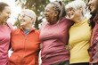 Leinwandbild Motiv Happy multi generational women having fun together after sport workout outdoor - Focus on center woman face