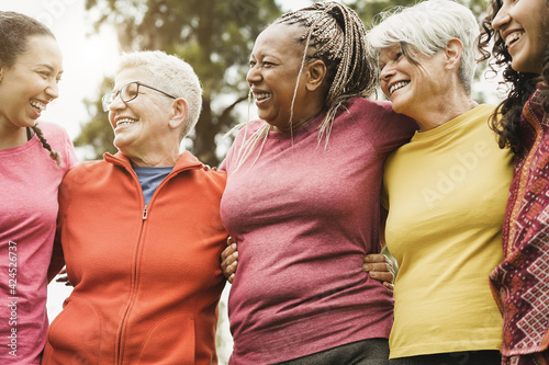 Canvas-taulu Happy multi generational women having fun together after sport workout outdoor -