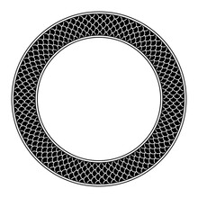 Circle Frame With Fish Scale Pattern. Round Decorative Border, With Three Rows Of Overlapping Black And Cycloid Fish Scales, Framed With Lines. Black And White Isolated Illustration Over White. Vector