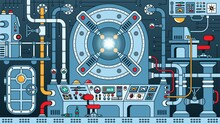 Steampunk Machine - Fantastic Nuclear Reactor. Energy Device Control Room In Physical Laboratory. Time Machine. Sci-fi Apparatus. Vector Illustration.