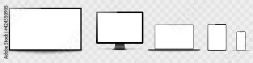 Set of realistic monitor, laptop, tablet, phone on a white background