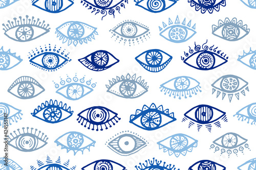 Doodle open eyes cute repeatable ornament. Sketch Wallpaper Mural