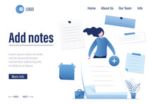 Add Notes - Landing Page Template. Successful Employee Holds Paper Stickers, Empty Memo. Female Character With Various Memory Notepapers.