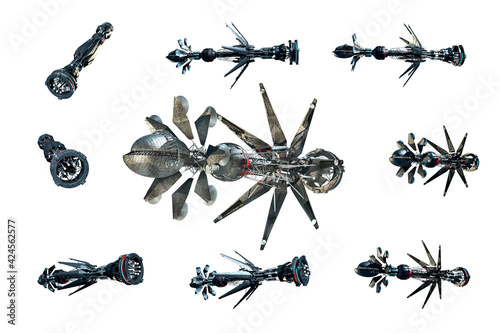 Fotografiet Collage of spaceship instances isolated on white