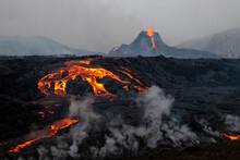 Reykjanes Peninsula, Iceland - March 23rd 2021: Volcanic Eruption Reykjanes Peninsula Iceland. Fagradalsfjall Volcano. Geldingadalir Eruption
