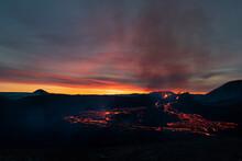 Reykjanes Peninsula, Iceland - March 27th 2021: Volcanic Eruption Reykjanes Peninsula Iceland. Fagradalsfjall Volcano. Geldingadalir Eruption