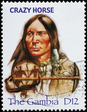 Indian Chief Crazy Horse On Postage Stamp