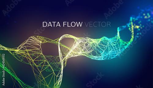 Fototapeta AI wave background. Blockchain data flow. Network line connect stream. AI tech flow obraz