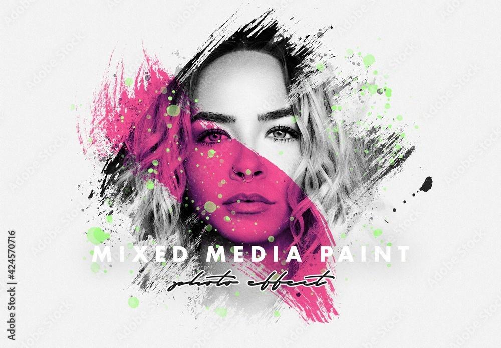 Fototapeta Mixed Media Paint Photo Effect Mockup