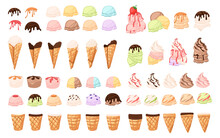 Set Of Different Ice Cream Cone And Bars Ice Creams With Different Flavours Chocolate Vanilla And Fruits Vector Illustration On White Background