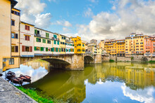 The Less Photographed Side Of The Ponte Vecchio Bridge Over The River Arno In The Tuscan Region Of Florence, Italy