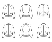 Set Of Bomber Jackets Technical Fashion Illustration With Rib Baseball Collar, Cuffs, Oversized, Long Raglan Sleeves, Flap Pockets. Flat Coat Template Front, White Color. Women, Men, Unisex Top CAD