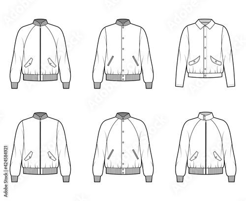 Tela Set of Bomber jackets technical fashion illustration with Rib baseball collar, cuffs, oversized, long raglan sleeves, flap pockets