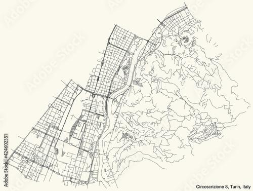 Fotografie, Obraz Black simple detailed street roads map on vintage beige background of the boroug
