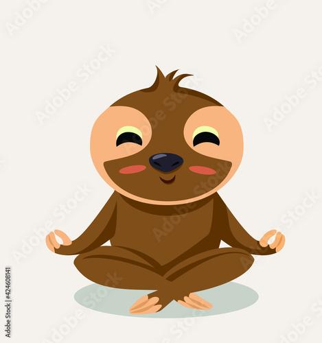 Fototapeta premium Vector Sloth Meditating in Yoga Pose