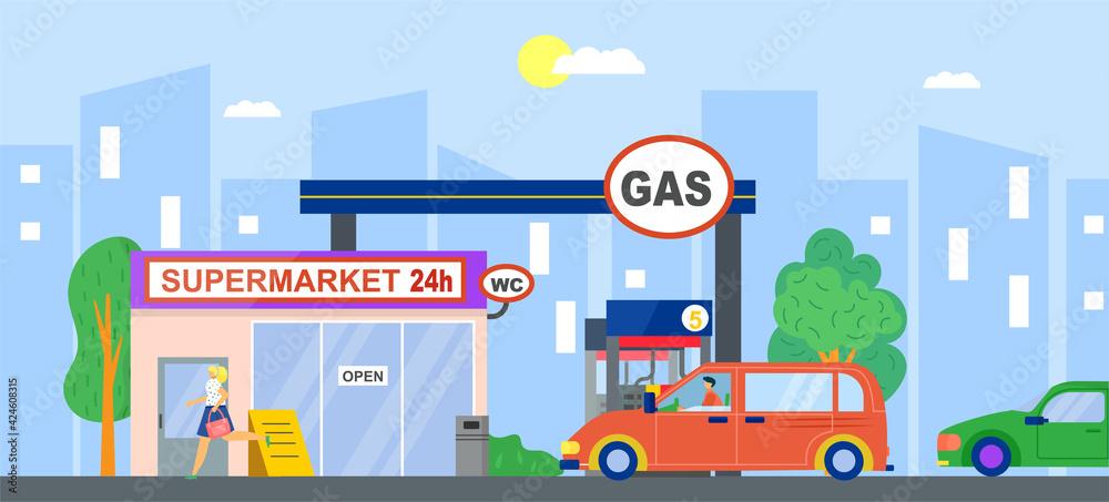 Fototapeta Gas station, fuel petrol for car, vector illustration. Flat service wtih gasoline, oil energy pump for transportation. Cartoon diesel refill industry