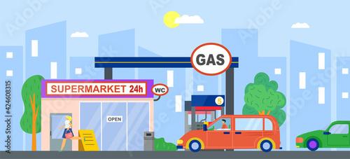 Obraz Gas station, fuel petrol for car, vector illustration. Flat service wtih gasoline, oil energy pump for transportation. Cartoon diesel refill industry - fototapety do salonu