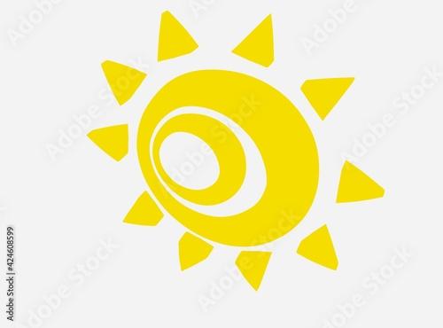 下を向く不気味な黄色の太陽 Wallpaper Mural